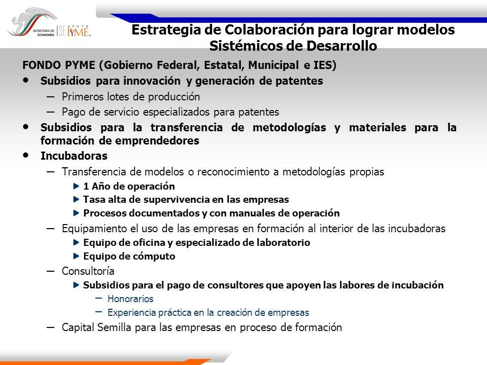 Estrategia de Colaboración para lograr modelos Sistémicos de Desarrollo FONDO PYME (Gobierno Federal, Estatal, Municipal e IES) Subsidios para innovac