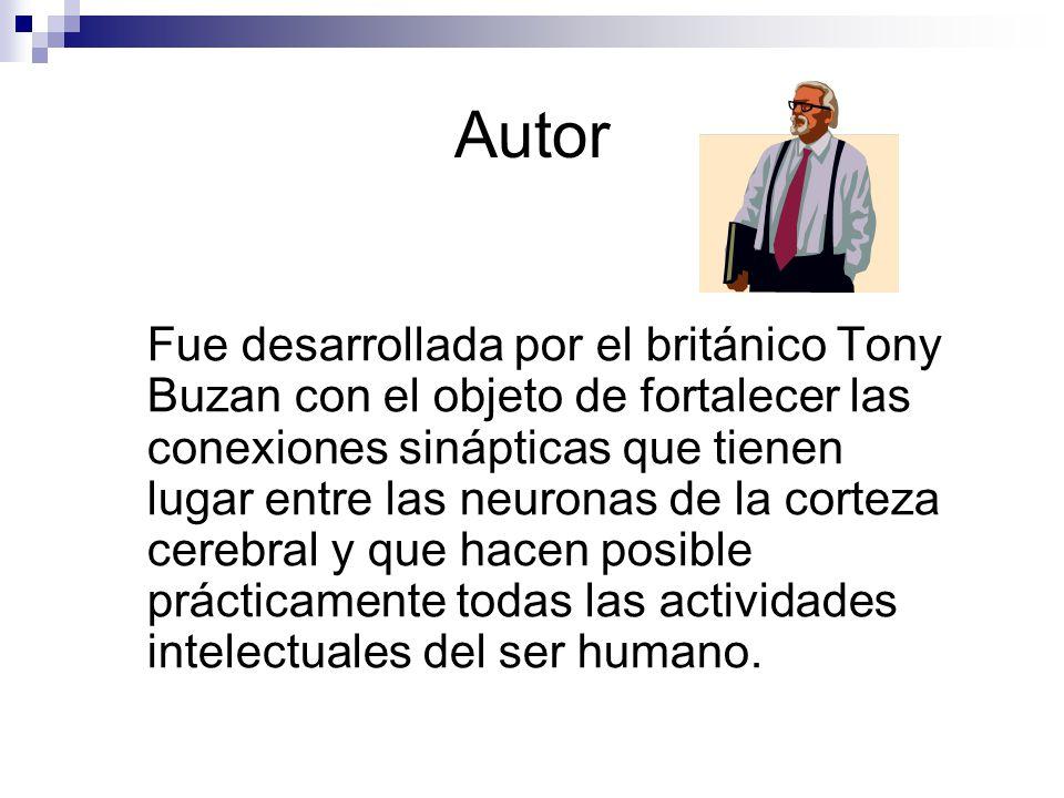 Autor Fue desarrollada por el británico Tony Buzan con el objeto de fortalecer las conexiones sinápticas que tienen lugar entre las neuronas de la corteza cerebral y que hacen posible prácticamente todas las actividades intelectuales del ser humano.