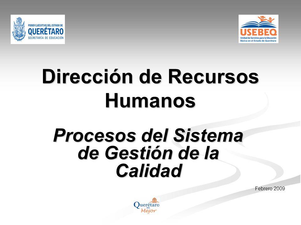 Dirección de Recursos Humanos Procesos del Sistema de Gestión de la Calidad Febrero 2009