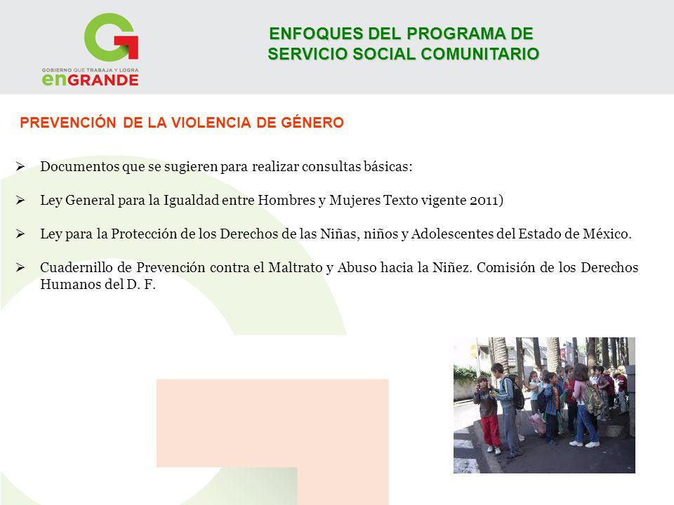 ENFOQUES DEL PROGRAMA DE SERVICIO SOCIAL COMUNITARIO PREVENCIÓN DE LA VIOLENCIA DE GÉNERO Documentos que se sugieren para realizar consultas básicas: