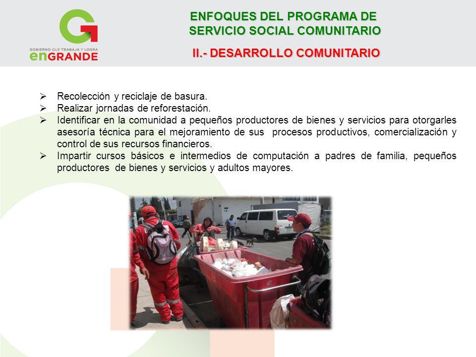 ENFOQUES DEL PROGRAMA DE SERVICIO SOCIAL COMUNITARIO II.- DESARROLLO COMUNITARIO Recolección y reciclaje de basura. Realizar jornadas de reforestación