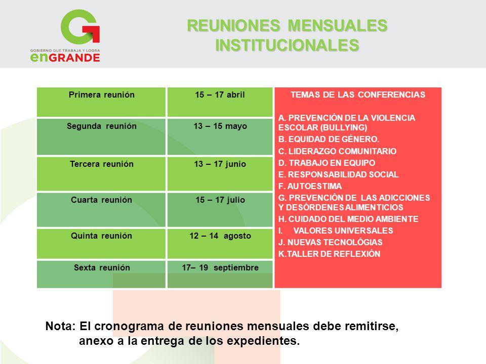REUNIONES MENSUALES INSTITUCIONALES Primera reunión15 – 17 abrilTEMAS DE LAS CONFERENCIAS A. PREVENCIÓN DE LA VIOLENCIA ESCOLAR (BULLYING) B. EQUIDAD