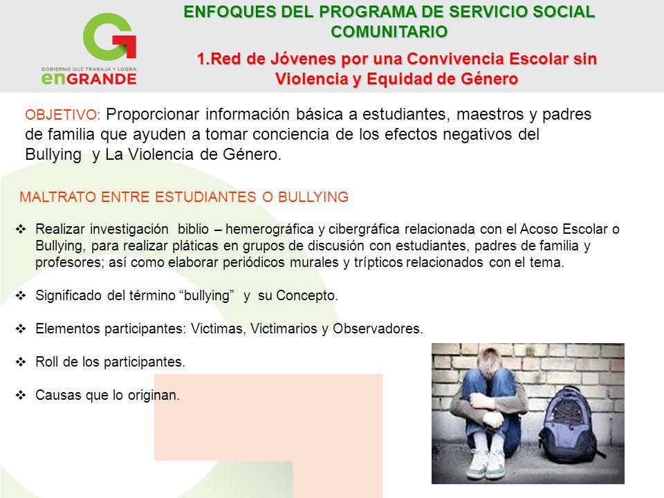 ENFOQUES DEL PROGRAMA DE SERVICIO SOCIAL COMUNITARIO Tipos de acoso escolar: Físico, Psicológico, Ciberbullying.