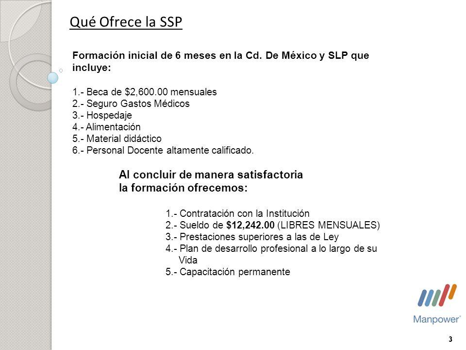 Qué Ofrece la SSP Formación inicial de 6 meses en la Cd. De México y SLP que incluye: 1.- Beca de $2,600.00 mensuales 2.- Seguro Gastos Médicos 3.- Ho