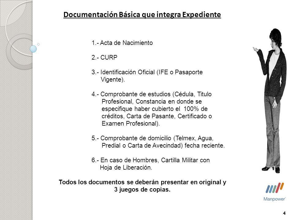 Documentación Básica que integra Expediente 1.- Acta de Nacimiento 2.- CURP 3.- Identificación Oficial (IFE o Pasaporte Vigente). 4.- Comprobante de e