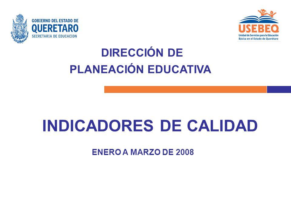 DIRECCIÓN DE PLANEACIÓN EDUCATIVA INDICADORES DE CALIDAD ENERO A MARZO DE 2008