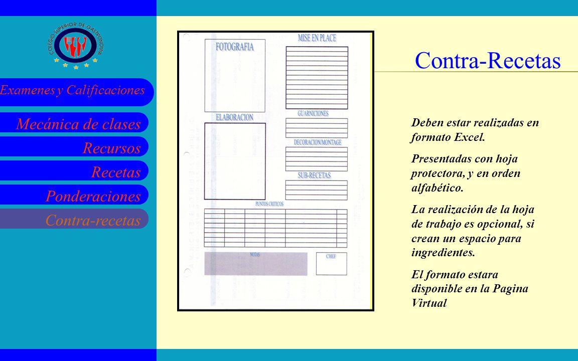 Recursos Recetas Ponderaciones Contra-recetas Mecánica de clases Examenes y Calificaciones Contra-Recetas Deben estar realizadas en formato Excel. Pre