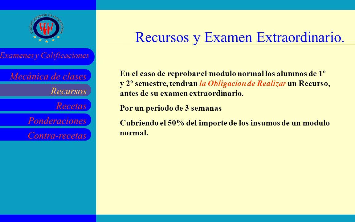 Recursos Recetas Ponderaciones Contra-recetas Mecánica de clases Examenes y Calificaciones Recursos y Examen Extraordinario. Recursos En el caso de re