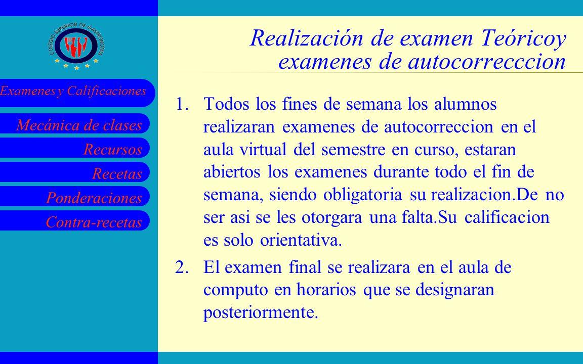 Recursos Recetas Ponderaciones Contra-recetas Mecánica de clases Examenes y Calificaciones Realización de examen Teóricoy examenes de autocorrecccion