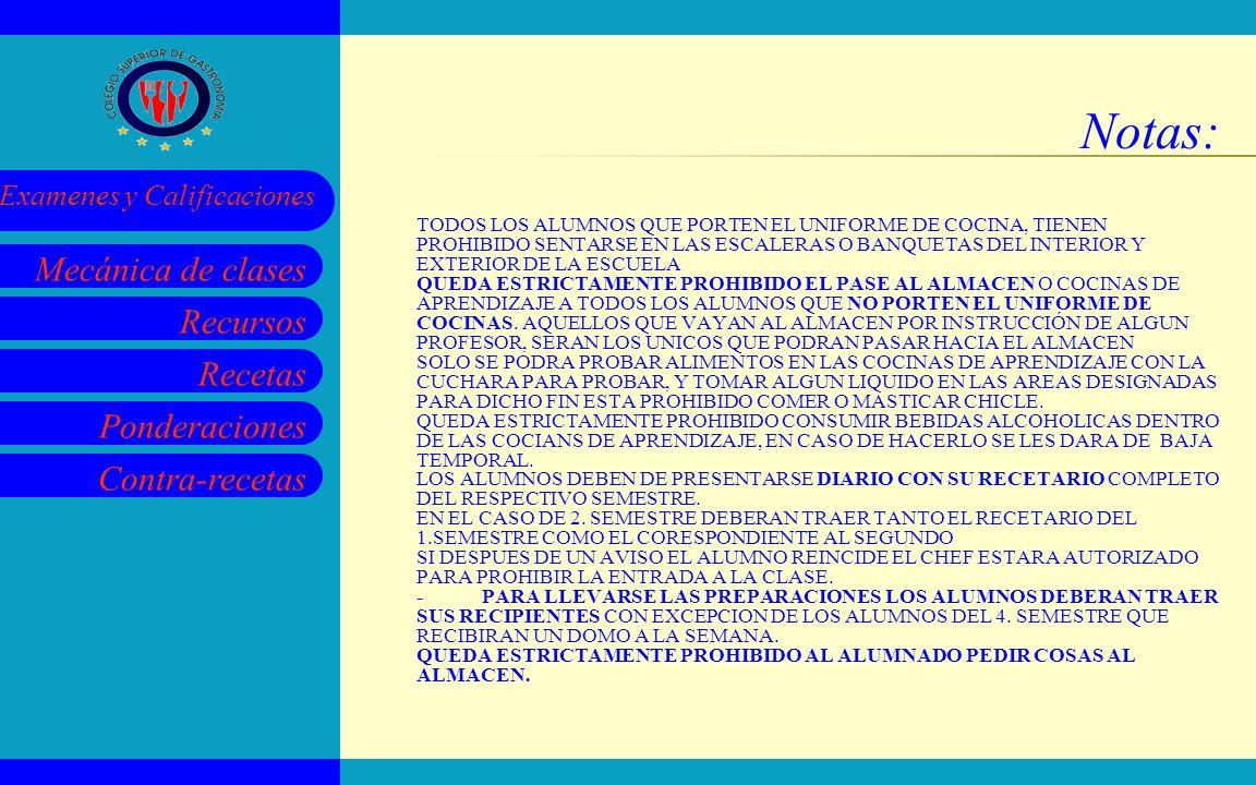 Recursos Recetas Ponderaciones Contra-recetas Mecánica de clases Examenes y Calificaciones Notas: TODOS LOS ALUMNOS QUE PORTEN EL UNIFORME DE COCINA,