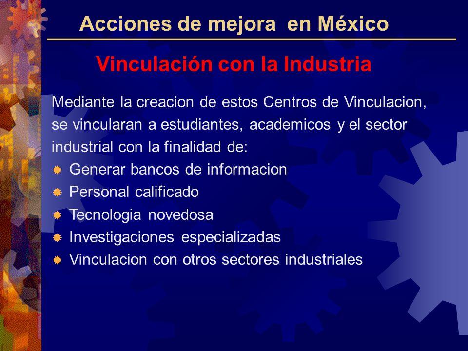 Acciones de mejora en México Vinculación con la Industria Mediante la creacion de estos Centros de Vinculacion, se vincularan a estudiantes, academicos y el sector industrial con la finalidad de: Generar bancos de informacion Personal calificado Tecnologia novedosa Investigaciones especializadas Vinculacion con otros sectores industriales