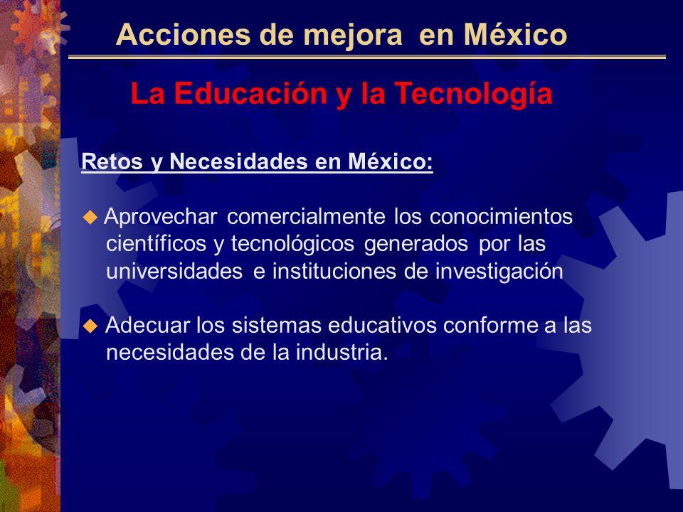 La Educación y la Tecnología Retos y Necesidades en México: Aprovechar comercialmente los conocimientos científicos y tecnológicos generados por las universidades e instituciones de investigación Adecuar los sistemas educativos conforme a las necesidades de la industria.