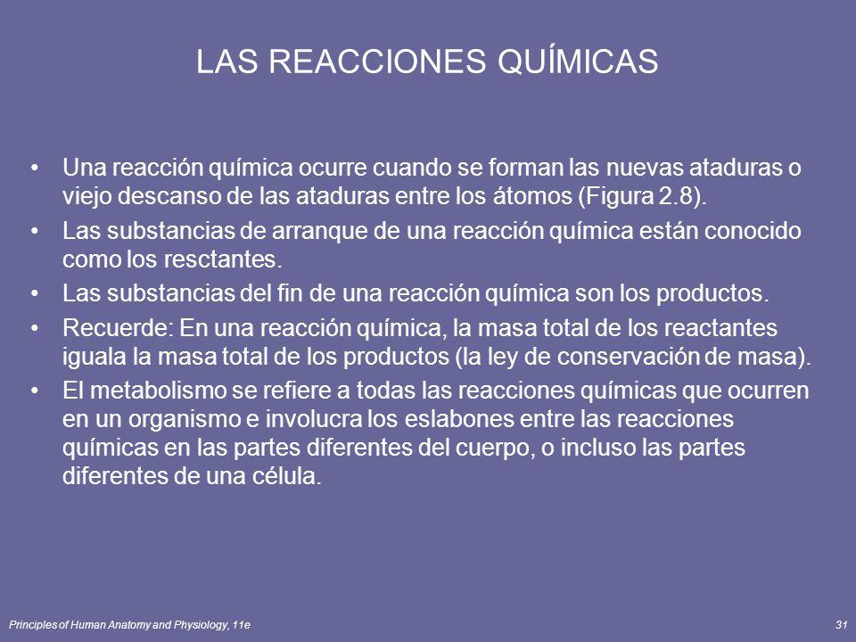 Principles of Human Anatomy and Physiology, 11e31 LAS REACCIONES QUÍMICAS Una reacción química ocurre cuando se forman las nuevas ataduras o viejo descanso de las ataduras entre los átomos (Figura 2.8).