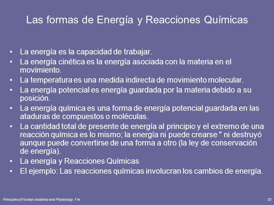 Principles of Human Anatomy and Physiology, 11e32 Las formas de Energía y Reacciones Químicas La energía es la capacidad de trabajar.
