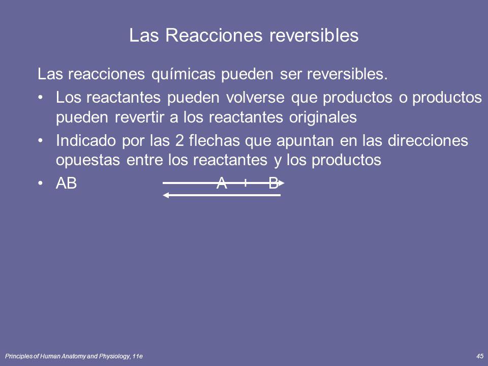 Principles of Human Anatomy and Physiology, 11e45 Las Reacciones reversibles Las reacciones químicas pueden ser reversibles. Los reactantes pueden vol