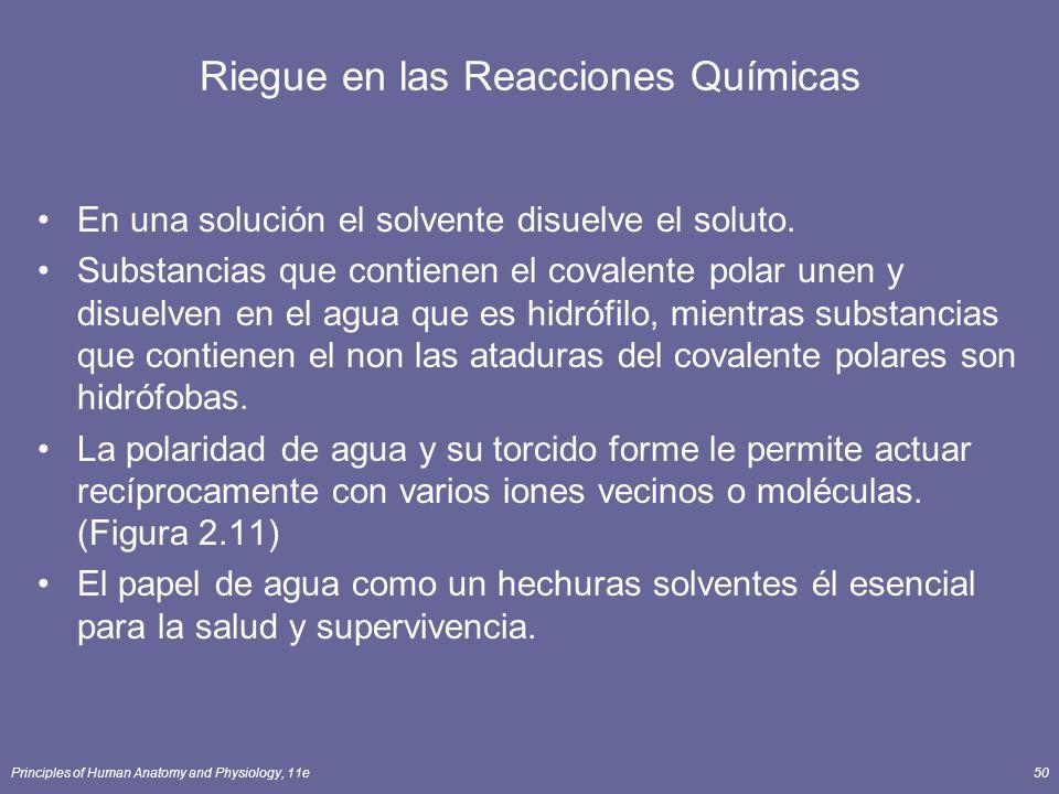Principles of Human Anatomy and Physiology, 11e50 Riegue en las Reacciones Químicas En una solución el solvente disuelve el soluto. Substancias que co