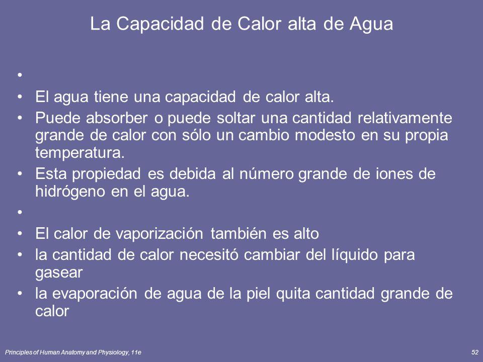 Principles of Human Anatomy and Physiology, 11e52 La Capacidad de Calor alta de Agua El agua tiene una capacidad de calor alta. Puede absorber o puede