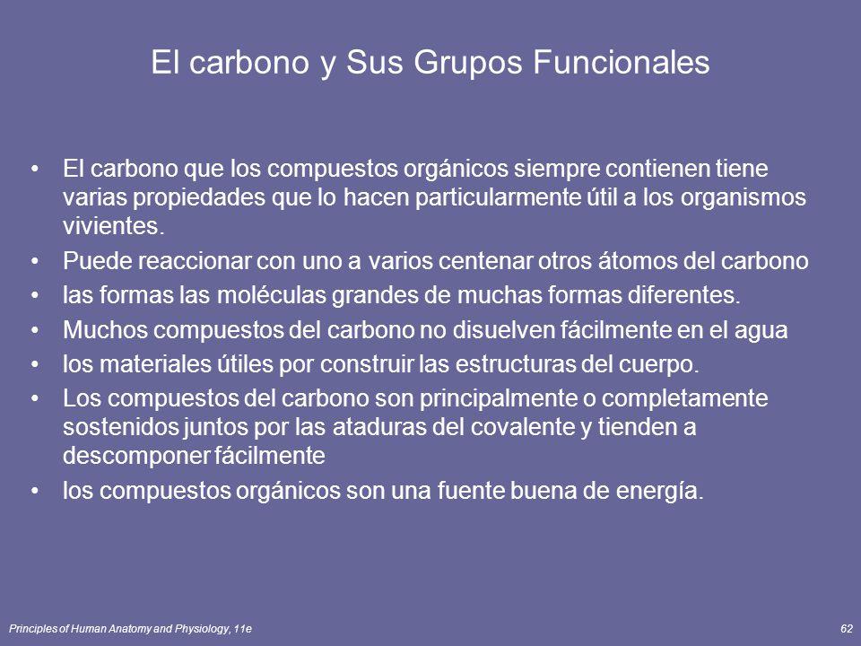 Principles of Human Anatomy and Physiology, 11e62 El carbono y Sus Grupos Funcionales El carbono que los compuestos orgánicos siempre contienen tiene varias propiedades que lo hacen particularmente útil a los organismos vivientes.