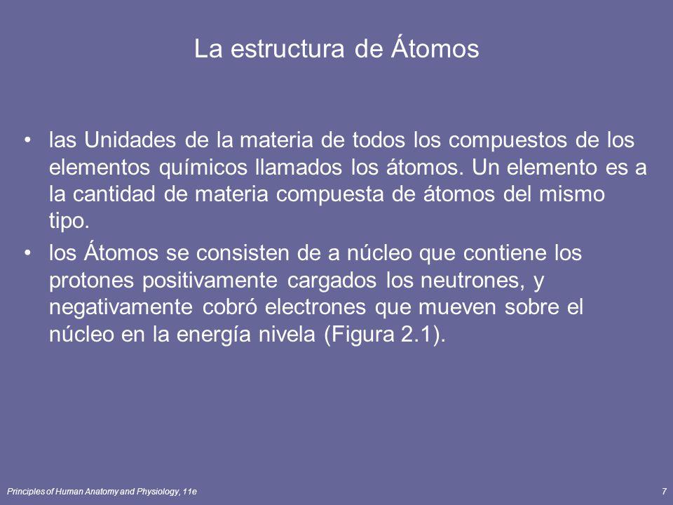 Principles of Human Anatomy and Physiology, 11e7 La estructura de Átomos las Unidades de la materia de todos los compuestos de los elementos químicos llamados los átomos.