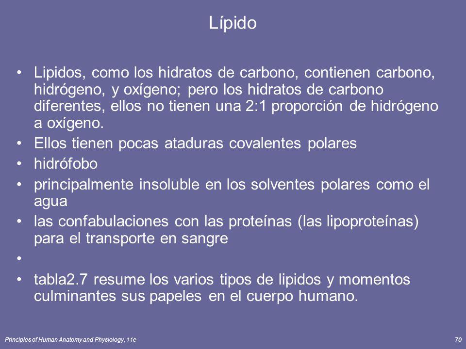 Principles of Human Anatomy and Physiology, 11e70 Lípido Lipidos, como los hidratos de carbono, contienen carbono, hidrógeno, y oxígeno; pero los hidratos de carbono diferentes, ellos no tienen una 2:1 proporción de hidrógeno a oxígeno.