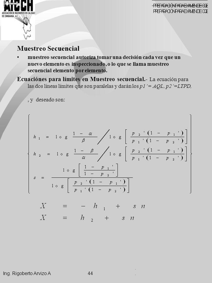 Muestreo Secuencial muestreo secuencial autoriza tomar una decisión cada vez que un nuevo elemento es inspeccionado, o lo que se llama muestreo secuencial elemento por elemento.