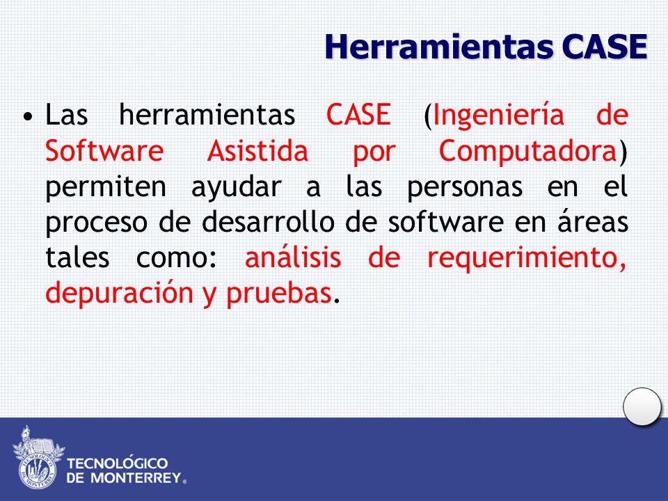 Herramientas CASE Las herramientas CASE (Ingeniería de Software Asistida por Computadora) permiten ayudar a las personas en el proceso de desarrollo de software en áreas tales como: análisis de requerimiento, depuración y pruebas.