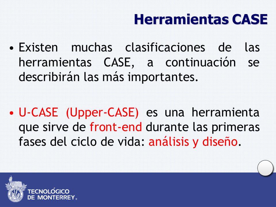 Herramientas CASE Existen muchas clasificaciones de las herramientas CASE, a continuación se describirán las más importantes. U-CASE (Upper-CASE) es u