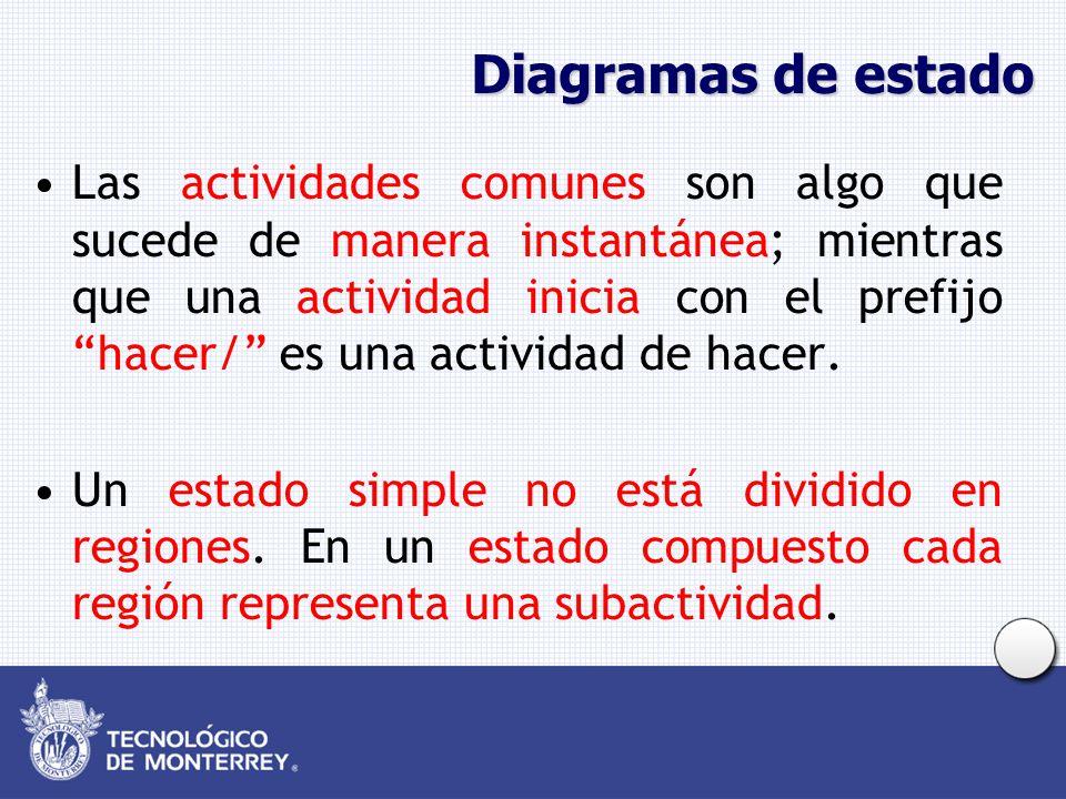 Diagramas de estado Las actividades comunes son algo que sucede de manera instantánea; mientras que una actividad inicia con el prefijo hacer/ es una actividad de hacer.