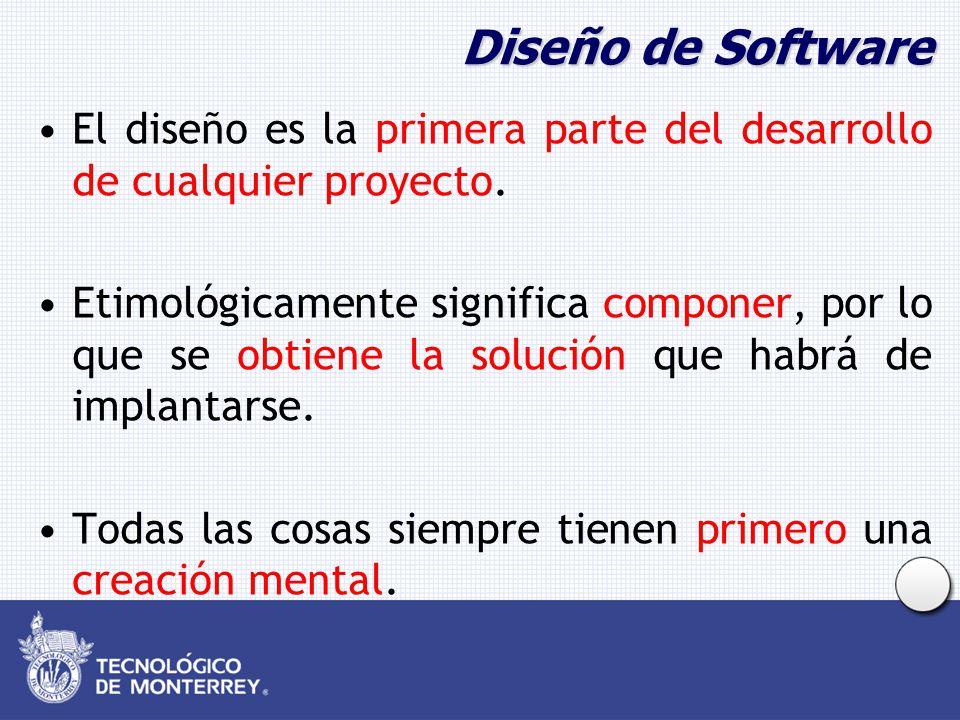 Diseño de Software El diseño es la primera parte del desarrollo de cualquier proyecto. Etimológicamente significa componer, por lo que se obtiene la s