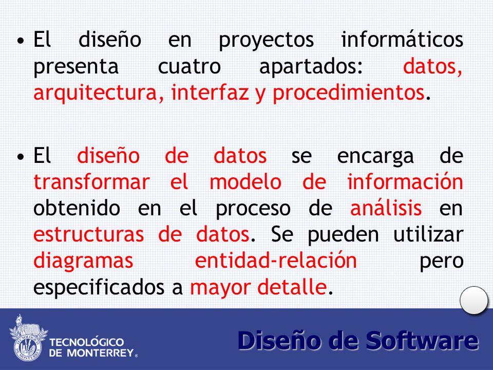 Diseño de Software El diseño en proyectos informáticos presenta cuatro apartados: datos, arquitectura, interfaz y procedimientos. El diseño de datos s