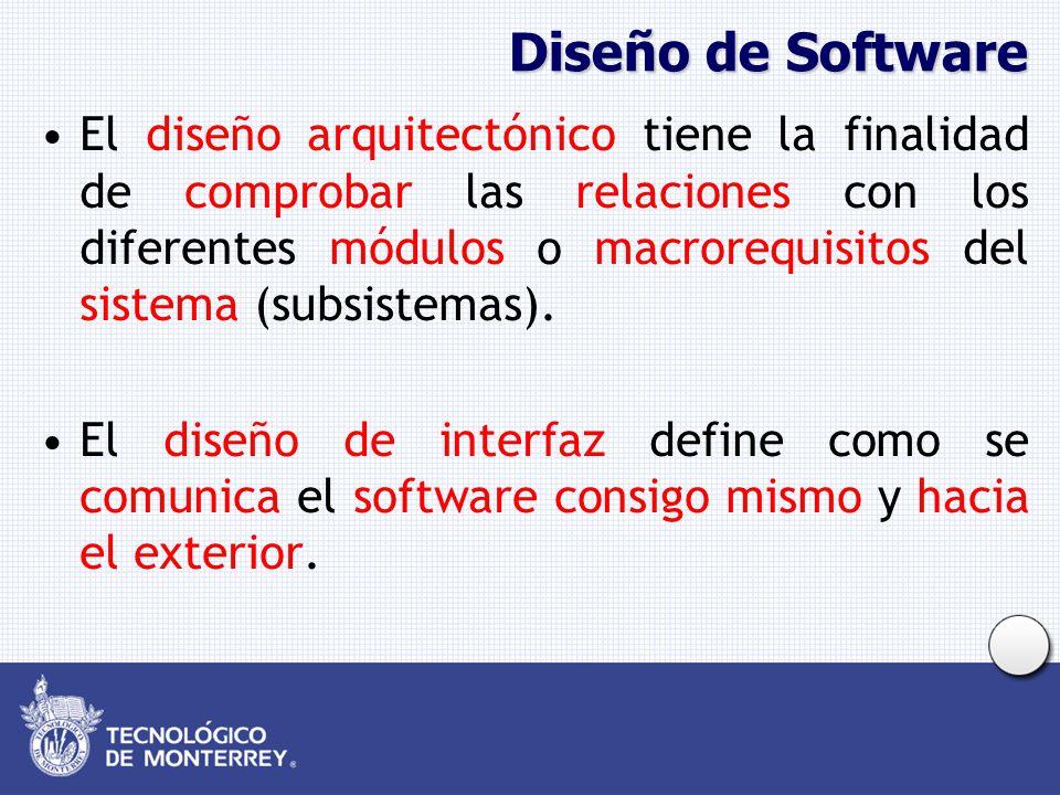 Diseño de Software El diseño arquitectónico tiene la finalidad de comprobar las relaciones con los diferentes módulos o macrorequisitos del sistema (s