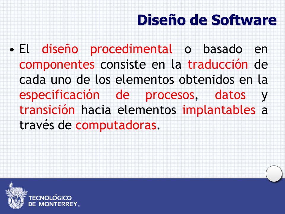 Diseño de Software El diseño procedimental o basado en componentes consiste en la traducción de cada uno de los elementos obtenidos en la especificación de procesos, datos y transición hacia elementos implantables a través de computadoras.