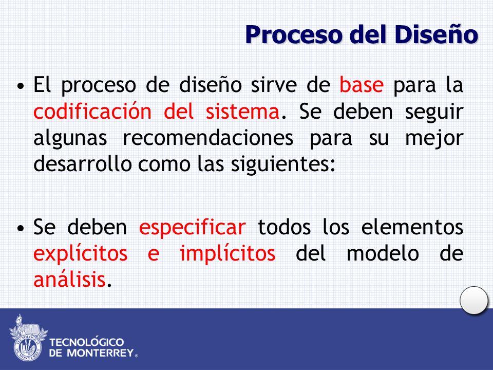 Proceso del Diseño El proceso de diseño sirve de base para la codificación del sistema. Se deben seguir algunas recomendaciones para su mejor desarrol