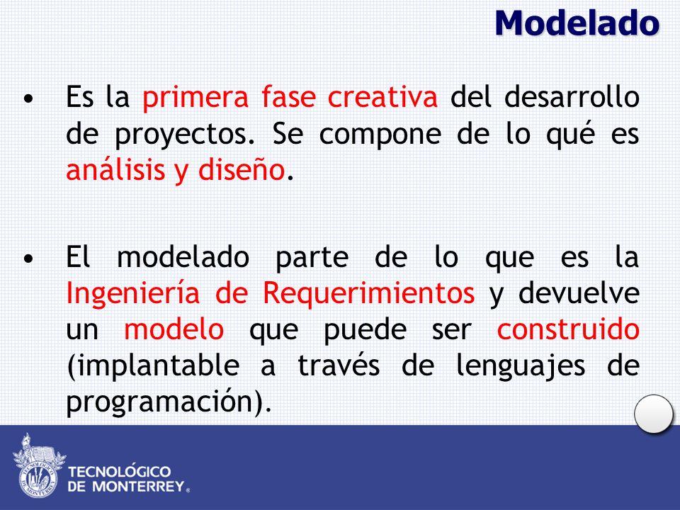Modelado Es la primera fase creativa del desarrollo de proyectos. Se compone de lo qué es análisis y diseño. El modelado parte de lo que es la Ingenie