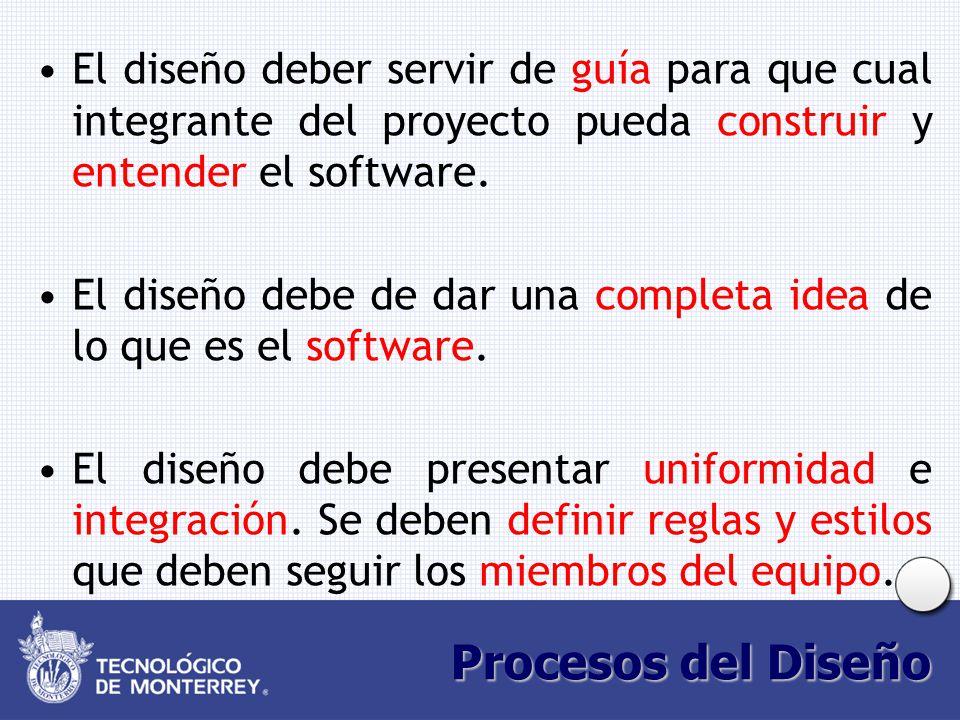 Procesos del Diseño El diseño deber servir de guía para que cual integrante del proyecto pueda construir y entender el software. El diseño debe de dar