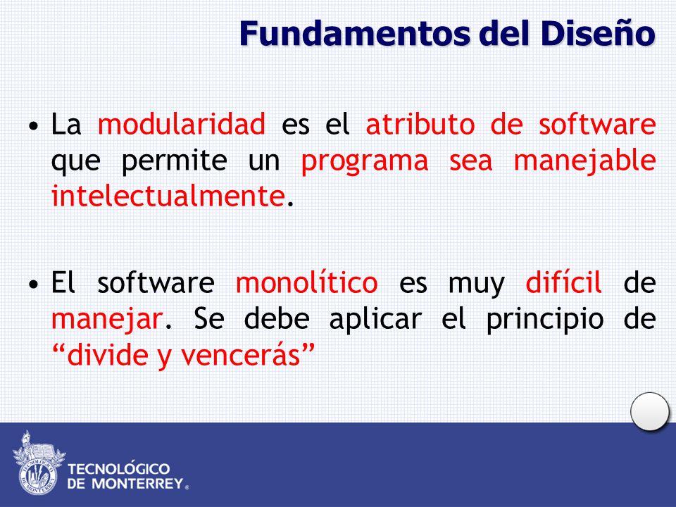 Fundamentos del Diseño La modularidad es el atributo de software que permite un programa sea manejable intelectualmente. El software monolítico es muy