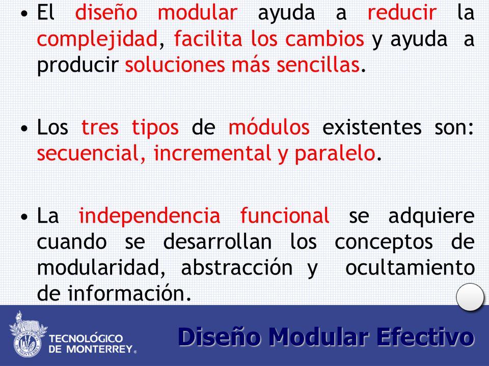 Diseño Modular Efectivo El diseño modular ayuda a reducir la complejidad, facilita los cambios y ayuda a producir soluciones más sencillas. Los tres t