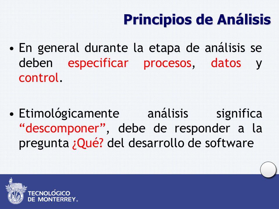 Principios de Análisis En análisis estructurado se utiliza la técnica de Diagrama de Flujo de Datos para especificar procesos, Diagrama Entidad-Relación para especificar datos y diagramas de transición de estados para control.