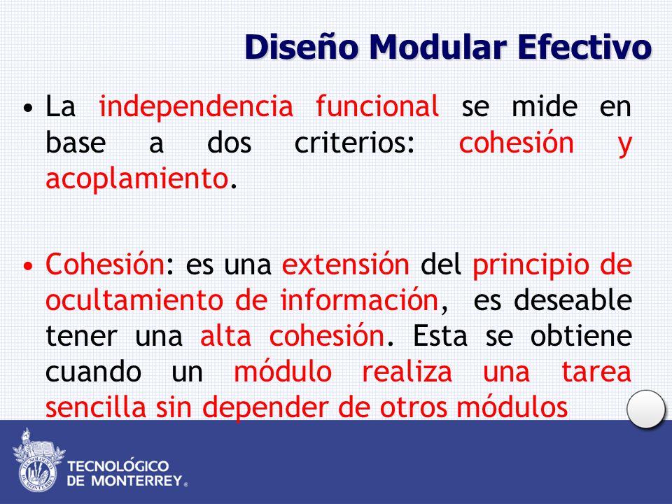 Diseño Modular Efectivo La independencia funcional se mide en base a dos criterios: cohesión y acoplamiento. Cohesión: es una extensión del principio