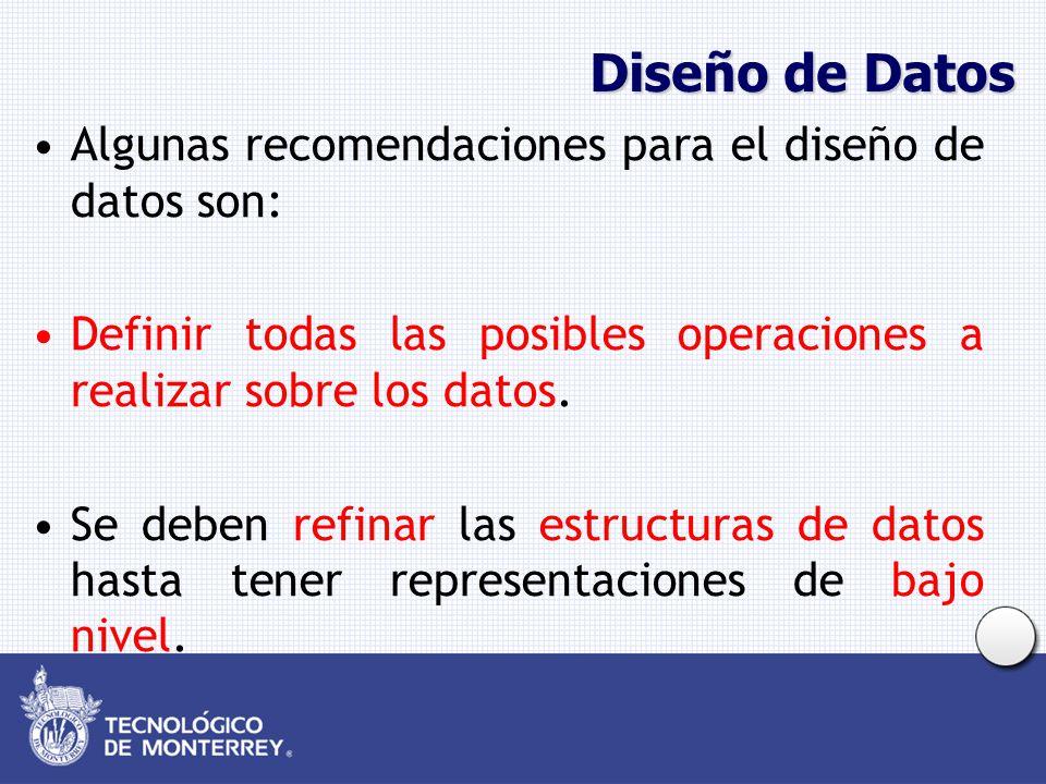 Diseño de Datos Algunas recomendaciones para el diseño de datos son: Definir todas las posibles operaciones a realizar sobre los datos. Se deben refin