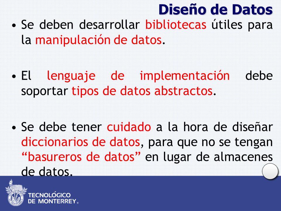 Diseño de Datos Se deben desarrollar bibliotecas útiles para la manipulación de datos. El lenguaje de implementación debe soportar tipos de datos abst