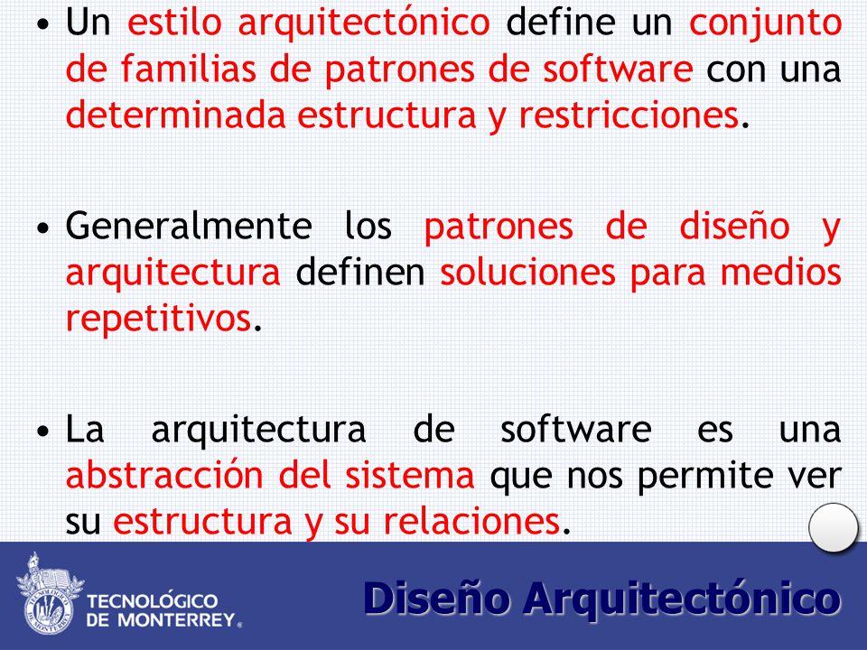 Diseño Arquitectónico Un estilo arquitectónico define un conjunto de familias de patrones de software con una determinada estructura y restricciones.