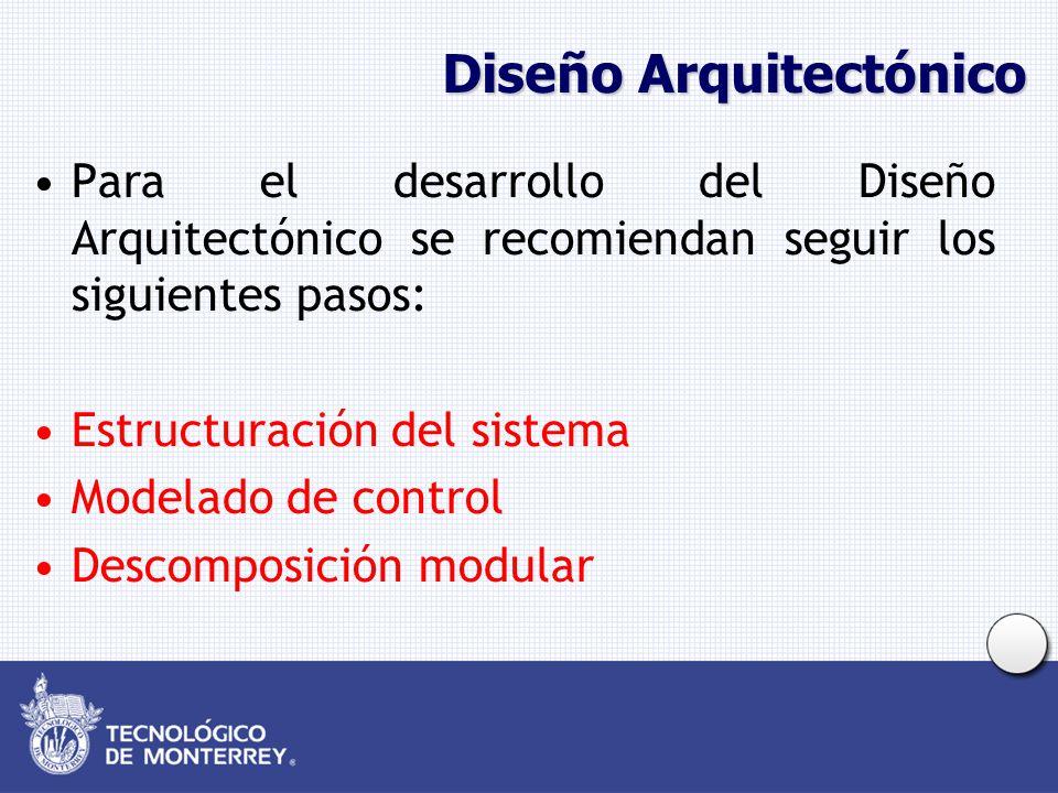 Diseño Arquitectónico Para el desarrollo del Diseño Arquitectónico se recomiendan seguir los siguientes pasos: Estructuración del sistema Modelado de control Descomposición modular
