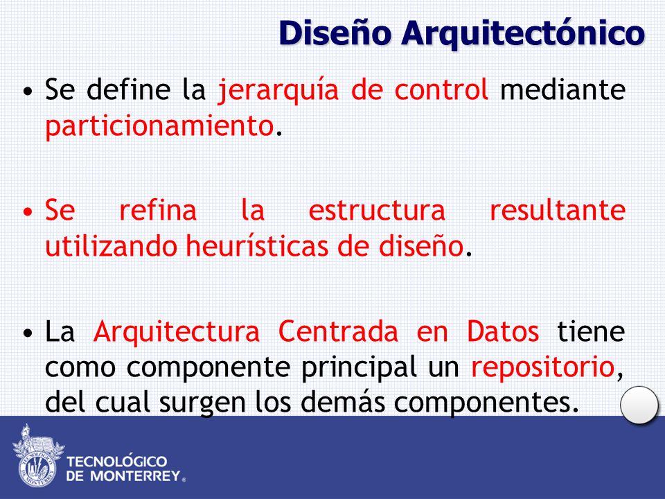 Diseño Arquitectónico Se define la jerarquía de control mediante particionamiento. Se refina la estructura resultante utilizando heurísticas de diseño