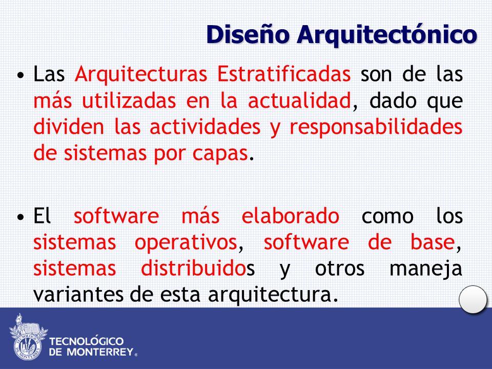 Diseño Arquitectónico Las Arquitecturas Estratificadas son de las más utilizadas en la actualidad, dado que dividen las actividades y responsabilidades de sistemas por capas.