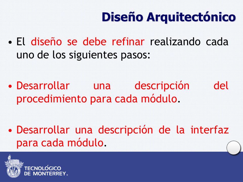Diseño Arquitectónico El diseño se debe refinar realizando cada uno de los siguientes pasos: Desarrollar una descripción del procedimiento para cada módulo.