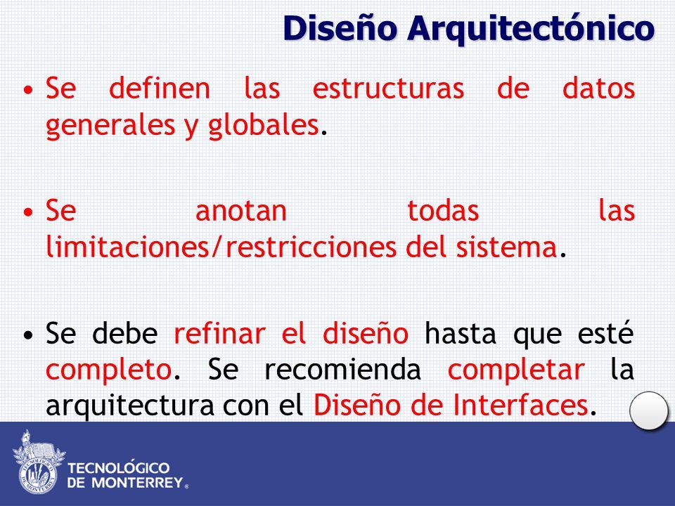 Diseño Arquitectónico Se definen las estructuras de datos generales y globales. Se anotan todas las limitaciones/restricciones del sistema. Se debe re