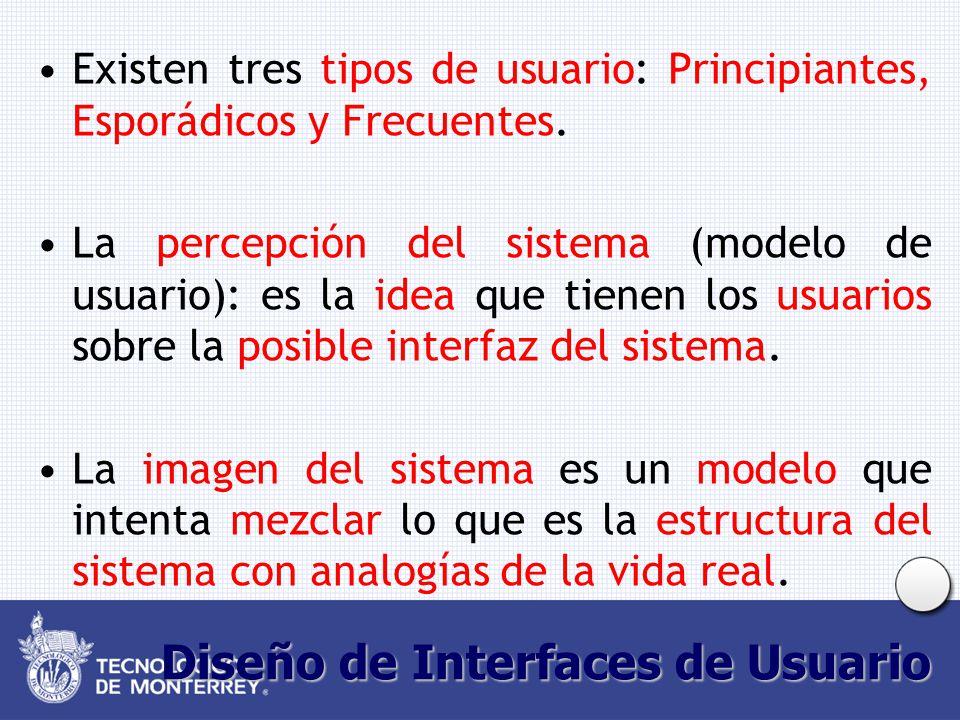 Diseño de Interfaces de Usuario Existen tres tipos de usuario: Principiantes, Esporádicos y Frecuentes. La percepción del sistema (modelo de usuario):