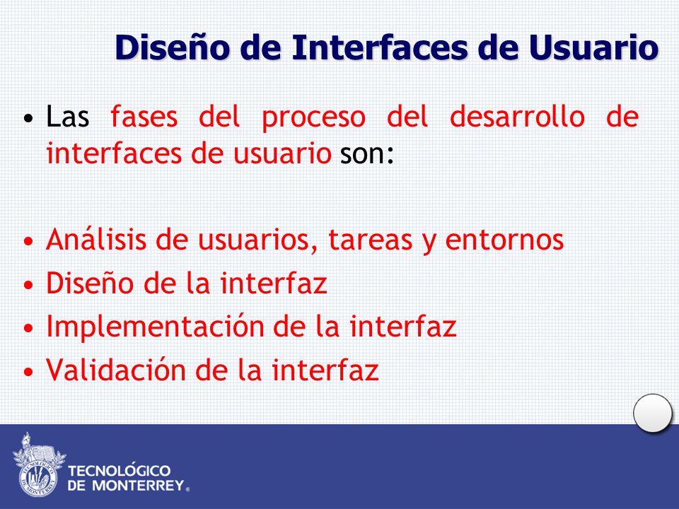 Diseño de Interfaces de Usuario Las fases del proceso del desarrollo de interfaces de usuario son: Análisis de usuarios, tareas y entornos Diseño de la interfaz Implementación de la interfaz Validación de la interfaz