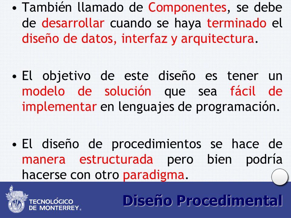 Diseño Procedimental También llamado de Componentes, se debe de desarrollar cuando se haya terminado el diseño de datos, interfaz y arquitectura. El o